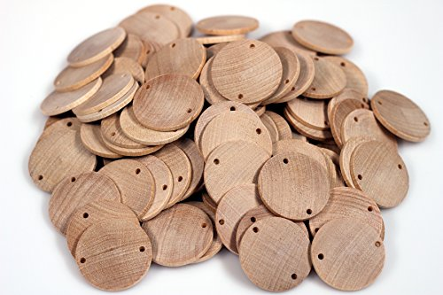 Creative Hobbies Unfinished Wood Disc Coin Circles with 2 Holes, 100 Piece Pack, DIY Family Birthday, Birthday board Tags - 1.5 Inch Diameter (Birthday Circles)