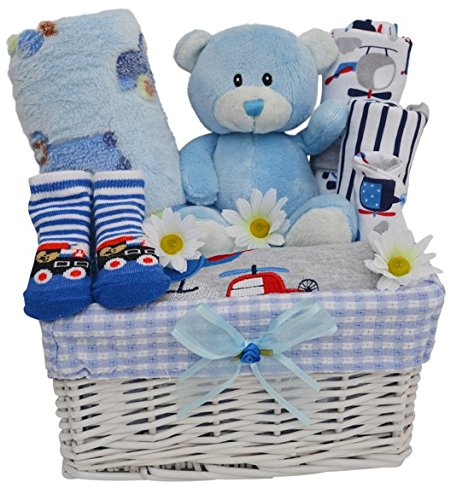 Gorgeous Boys Blue Themed New Baby Gift Hamper/Basket with Clothing Set - with FREE UK Delivery! Packaged to Perfection BLHAMP1
