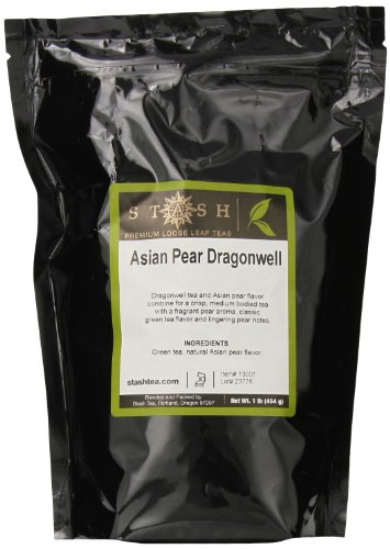 Stash Tea Green Loose Leaf Tea Asian Pear Dragonwell, 1 Pound Pouch Loose Leaf Premium Green Tea for Use with Tea Infusers Tea Strainers or Teapots, Drink Hot or Iced, Sweetened or Plain (Asian Tea Green Tea)