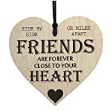 SODIAL(R) Friends Are Forever Wooden Hanging Heart Friendship Gift Shabby Chic Plaque Sign