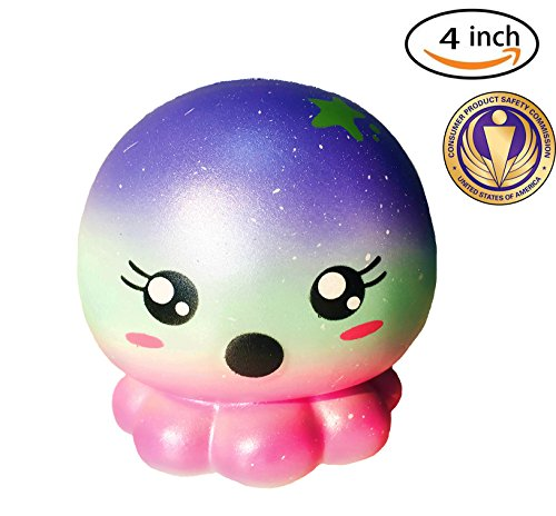 Dialeesi Squishies Slow Rising Cute Octopus Jellyfish - Kawaii Squeeze Toy Pack 4 inch | Soft and Cream Scented Stress Reliever for Kids