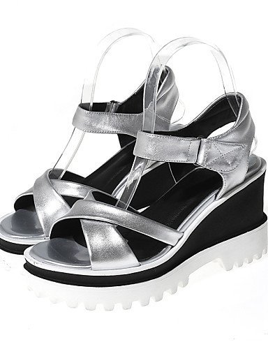 Open Heel Outdoor Toe Slingback Women's Silver Platform Wedges Wedge Shoes ShangYi Casual Sandals Dress Silver qUA0H
