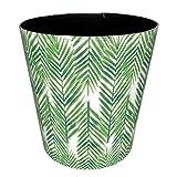 "MingCheng Wastebasket, European Style Retro Paper Basket Trash Can Round PU Leather Garbage Bin Without Lid 7.4""×7.4""×7.4"" - Green Leaves"