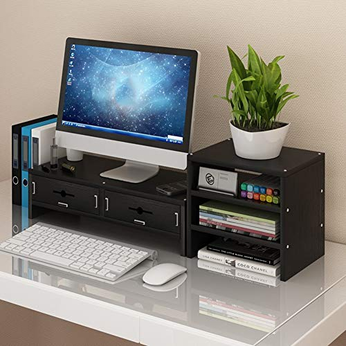 Wood Monitor Stand Riser, Keyboard Storage Space Laptop Tv Printer Stand for Home & ()