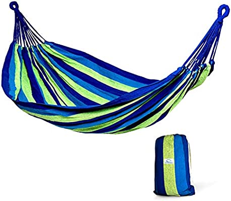 Hammock Sky Brazilian Double Hammock Two Person Bed For Backyard Porch Outdoor And Indoor Use Soft Woven Cotton Fabric Blue Green Stripes Amazon Sg Sports Fitness Outdoors