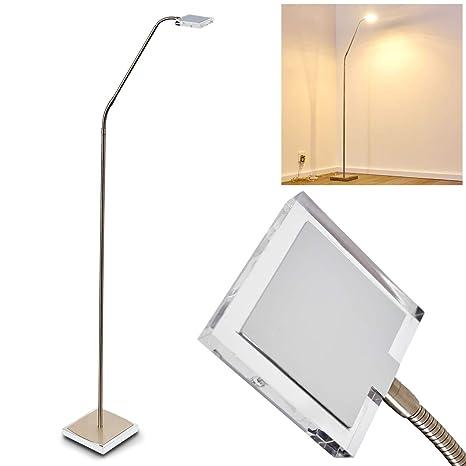 Lámpara de pie fansen de metal cromo níquel mate - - lámpara ...