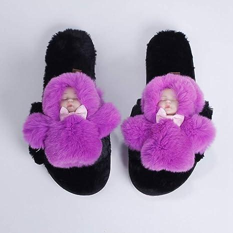 DAMENGXIANG Zapatillas De Piel Falsa De Gran Tamaño De Mujeres Inicio Reguladores Mullidas Invierno Peluche Lindo