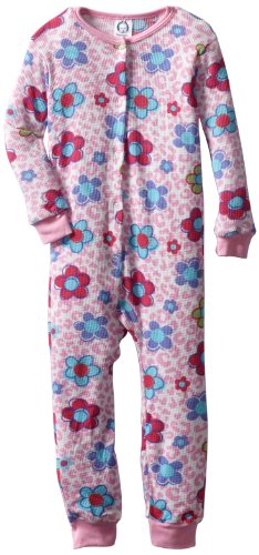 Gerber Baby Girls' 1 Piece Thermal Unionsuit With Leopard Flowers Print
