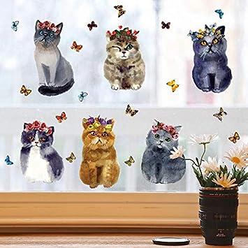 ELGDX 6 Unids Flor Y Mariposa 3D Gatos Pegatinas de Pared Calcomanías de Vinilo Pegatinas para Habitaciones de Niños Abstracta Coño Decoración Mural: ...