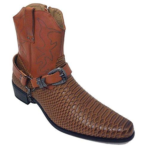 AF J-Jap Men's Cowboy Boots Western Alligator Snake Skin Print Crocodile Zippper Buckle Harness Chain Ankle Shoes, Black, Brown (9 D(M) US, - Snake Buckle Print
