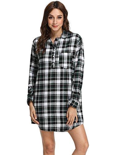 Latuza Women's Cotton Flannel Nightgown M Black & Green