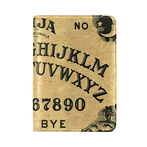 Ouija Board PU Leather Passport Holder Cover Case ID Card Case Travel Wallet