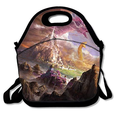 Mythical Dragon Phoenix Snake Neoprene Lunch Picnic Bag Lunch Box shopping bag