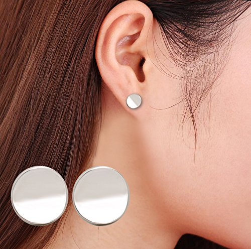 Silver Flat Disc (Zen Styles Small Round Circle Stud Earrings Silver Tone Disc Stud Earrings for Women and Men)