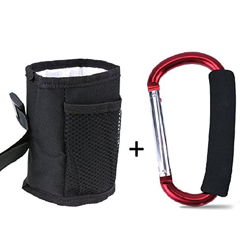 Topwon Universal Drinking Cup Holder,Drink Walker Cup Holder,Bottle Holder,Adjustable for Strollers, Walkers, Bicycles, Wheelchairs + X-Large Stroller Organizer Hook by Topwon