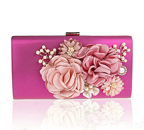 Alaimc Mando 3D Flowers Women'S Handmade Evening Bag New Chain Day Clutches Floral Faux Pearl Appliques Wedding Dinner Purse Hot (Applique Clutch)