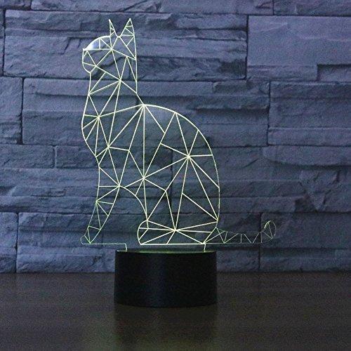 SUPERNIUDB Cute Cat 3D Night Light 7 Color Change LED Table