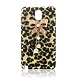 Bling Diamond Glitter Bow White Pearls Leopard Hard Case Cover For Samsung Galaxy Note 3 N9000 Phone, Best Gadgets