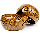 Rosewood Crafted Wooden Yarn Storage Bowl with Carved Holes & Drills | Knitting Crochet Accessories | Nagina International (Small)