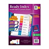 Avery Ready Index Table of Contents Dividers, 8-Tab, Multi-Color, 6 Sets (11186), Office Central