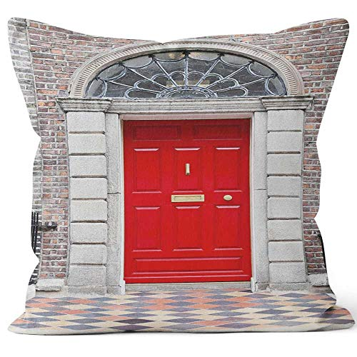 "Nine City Residential Front Door of A Georgian House in Dublin Throw Pillow Cushion Cover,HD Printing Decorative Square Accent Pillow Case,24"" W by 24"" L"