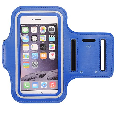 Price comparison product image GreenElec Sport Exercise Armband for Galaxy S8 / S7 / S6 Edge / S5,  iPhone 7 / 7 Plus / 6 / 6s / 6 Plus / 5S / SE,  LG / Sony / Motorola / HTC Huawei ZTE and Other Cellphones Up to 5.5 Inches,  Blue