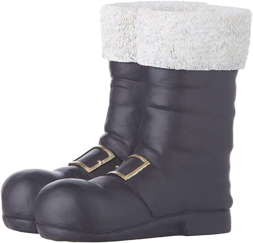 """RAZ Imports Home for The Holidays 10.25"""" Black Santa Boots Container"""