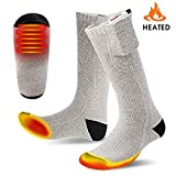 Battery Heated Socks, Warmfits 3000 mah Rechargeable Battery Operated Electric Foot Warmers Thermal Socks 3 Heat Setting 6-10 H Warming Time for Winter Hunting Hiking Ice Fishing Camping Skiing (Gray)