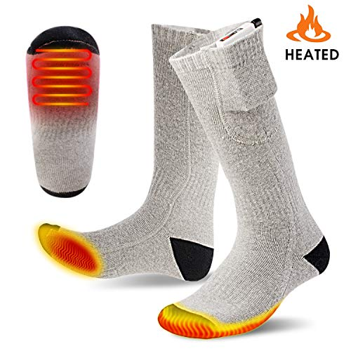 Battery Heated Socks, Warmfits 3000 mah Rechargeable Battery Operated Electric Foot Warmers Thermal Socks 3 Heat Setting 6-10 H Warming Time for Winter Hunting Hiking Ice Fishing Camping Skiing ()