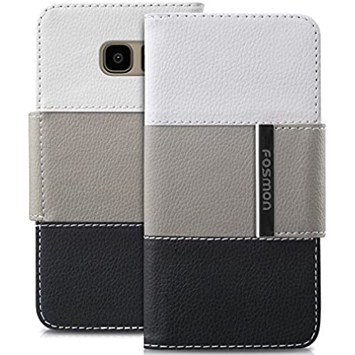 Galaxy S7 Edge Case, Fosmon CADDY-TRI Slim Leather Folio Wallet Case for Samsung Galaxy S7 Edge (White/Tan/Black) Sales