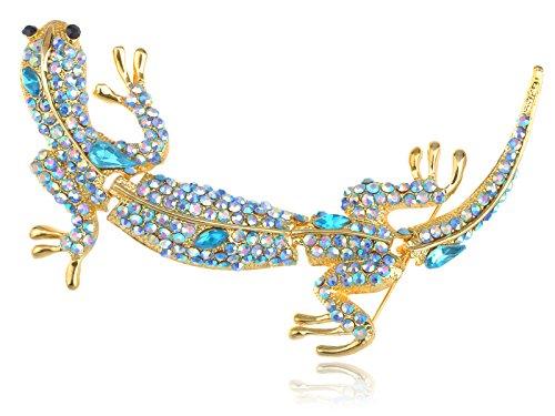 Alilang Golden Tone Aquamarine Blue Colored Rhinestones Long Lizard Brooch Pin (Colored Rhinestone Costume Jewelry)