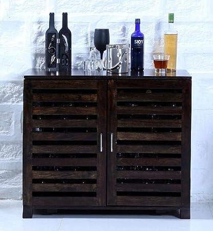 Jiya Creation Bar Cabinet | Wine Rack with Glass Storage | Bar Unit for Home Decor (Sheesham Wood) (Walnut Shade)