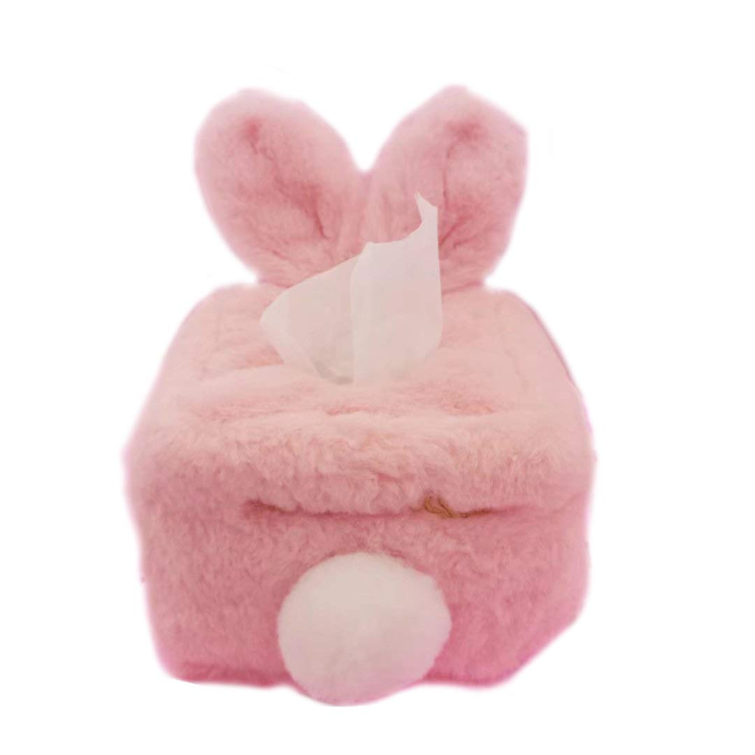 HugeHug Plush Rabbit Ears Facial Tissue Holder Unbreakable Decor Rectangle/Square Easter Decor Gifts for Kids (Square,Pink)