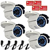 VideoSecu 4 Infrared Outdoor Day Night Vision Audio Microphone Security Cameras Weatherproof Built-in 1/3″ Sony CCD Wide View Angle Lens Home Video Surveillance Bullet Cameras with Power Supplies WAQ, Best Gadgets