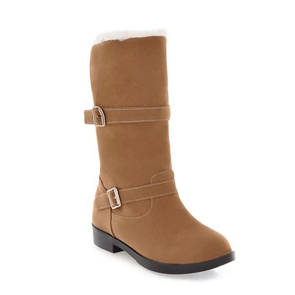 Hy Damen Stiefel Winter Wildleder Plus Cashmere Warm Schnee Stiefel Stiefel/Damen Gürtelschnalle Slip-Ons Stiefelies/Ski Schuhe Wanderschuhe (Farbe : B, Größe : 36)