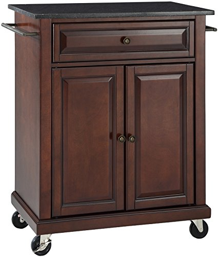Crosley Furniture Cuisine Kitchen Island With Solid Black Granite Top    Vintage Mahogany