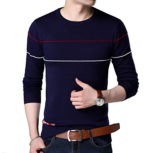 Blue Striped Sweater (YOMIJN Men's Fashion Striped Sweater (M, Blue))