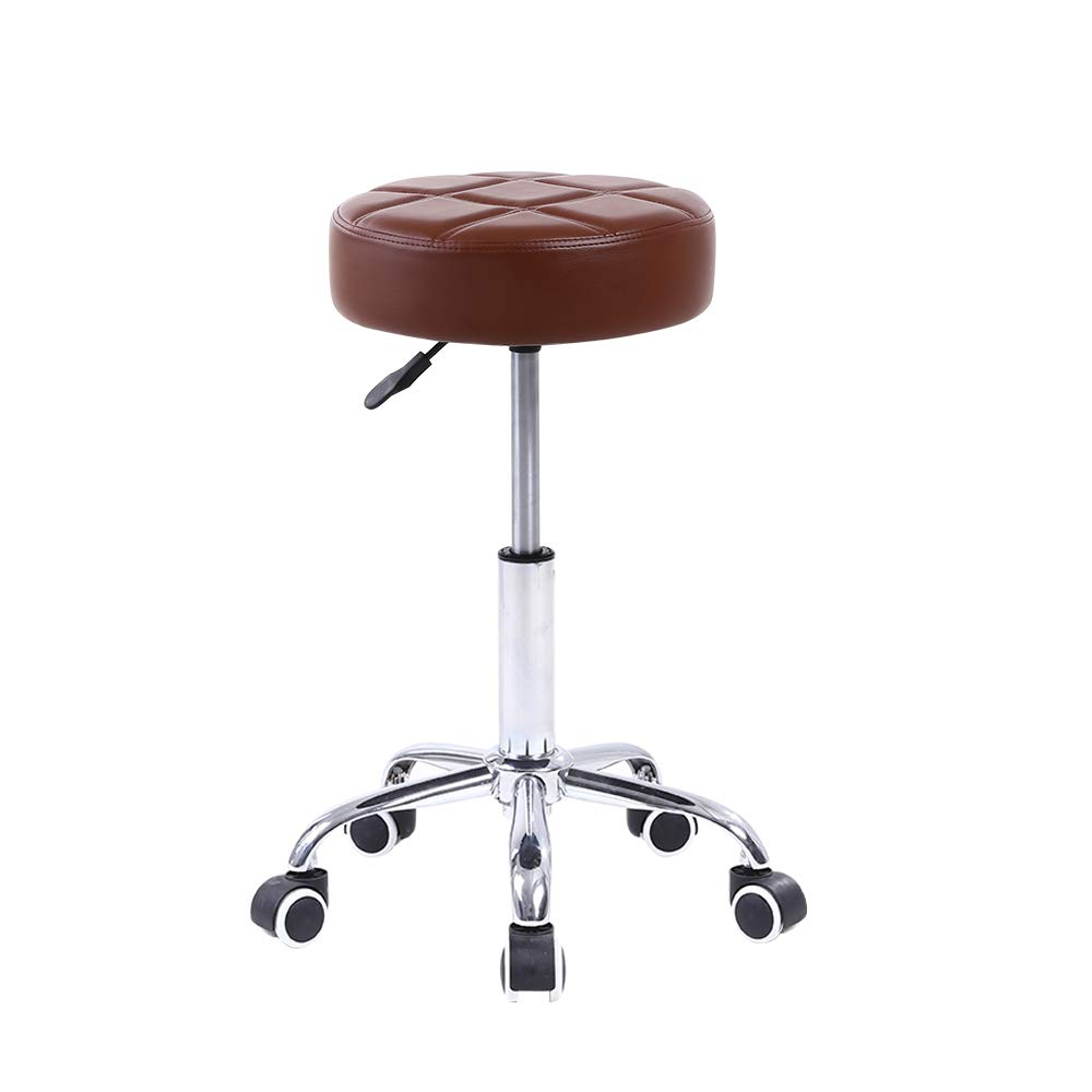 KKTONER Round Rolling Stool Chair PU Leather Height Adjustable Shop Stool Swivel Drafting Work SPA Medical Salon Stools with Wheels Office Chair Black: Kitchen & Dining