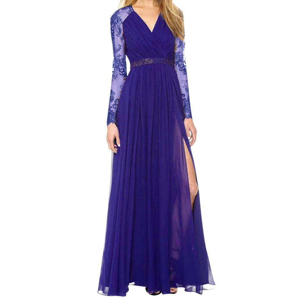 Elevin(TM) Long Dresses Women Casual Evening Party Dress Gown Lace Chiffon Flora Long Sleeve Cocktail Dresses