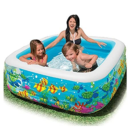Familia de congrouy Piscina, cuadrado hinchable Pool ...