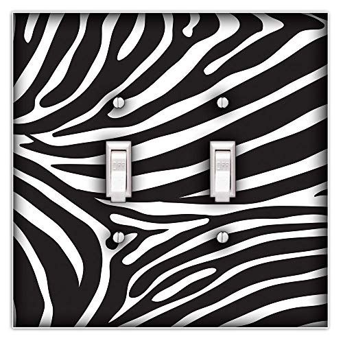 Zebra Print Decorative Double Toggle Light Switch Plate Cover