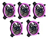 APEVIA 512L-CPK 120mm Silent Dual Rings Pink LED Fan with 32 x LEDs & 8 x Anti-Vibration Rubber Pads (5 Pk)