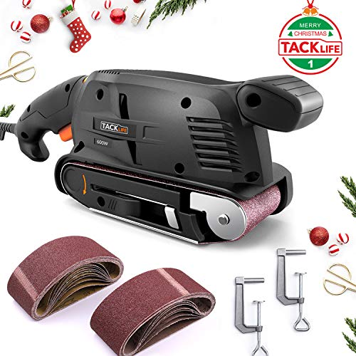 【Christmas Selection】, Tacklife Belt Sander 3 ×18-Inch, 13Pcs Sanding Belts, Bench Sander with 10Feet(3M) Power Cord, Variable-speed Control, Fixed Screw Clamp, Dust Box, Vacuum Adapter - PSFS1A