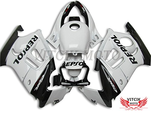 VITCIK (Fairing Kits Fit for Honda CBR600F3 CBR600F 1995 1996 CBR600 F3 95 96 Plastic ABS Injection Mold Complete Motorcycle Body Aftermarket Bodywork Frame (White & Black) A013