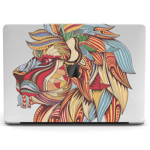 Wonder Wild Mac Retina Cover Case For MacBook Pro 15 inch 12 11 Clear Hard Air 13 Apple 2019 Protective Laptop 2018 2017 2016 2015 Plastic Print Touch Bar Boho Mandala Lion Animal Head Colorful Female (Laptop Case Lion)
