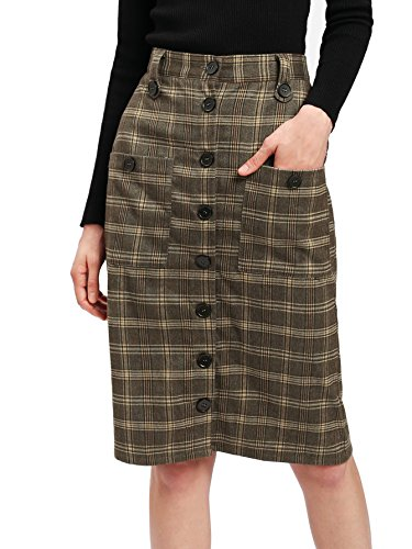 A-line Sheath (Verdusa Women's Pocket Patched Button-Up Sheath A-Line Plaid Skirt Coffee L)