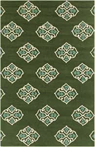 8' x 10.5' Medieval Tulip Green Hand Hooked Medium Pile Shed-Free Area Throw Rug