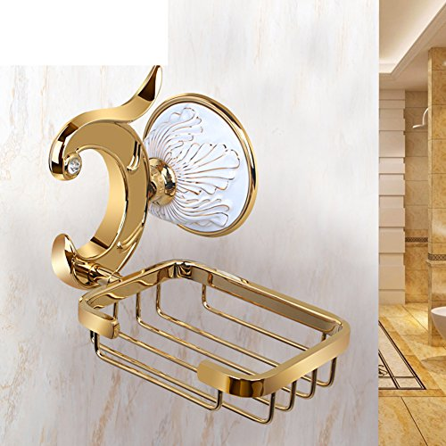 HCP Golden ceramic carved soap rack Soap dish Bathroom wall-mounted soap box-A by HCP JIAZHUANG