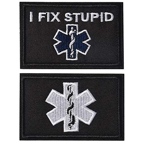 SHELCUP I Fix Stupid EMT Medic Funny Tactical Military Morale Patch Hook&Loop Tactical Patch