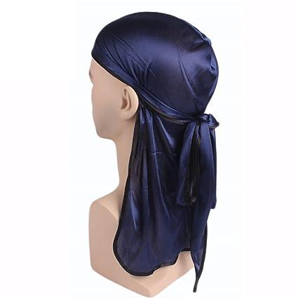 Jianzheng Hombres Mujeres Silky Durag Sombrero de Turbante de Cola Larga  Elástico Gorro de Quimio Gorro 7739bade9c5